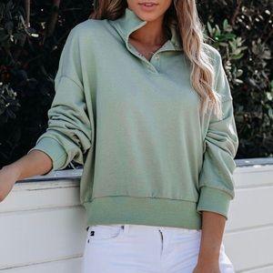 Cotton Blend Henley Sweatshirt